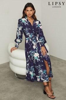 Lipsy Navy Floral Maxi Shirt Dress