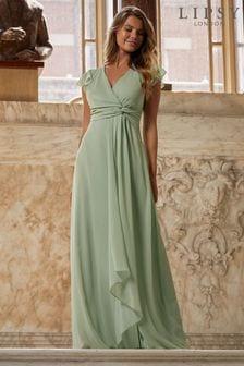 Lipsy Green Knot Front Maxi Bridesmaid Maxi Dress