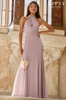 Lipsy Purple Halter Chiffon Bridesmaid Maxi Dress