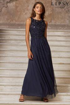 Lipsy Navy Natalie Embellished Sleeveless Bridesmaid Maxi Dress