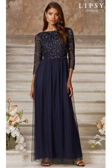 Lipsy Navy Natalie Embellished Mid Sleeve Bridemaid Maxi Dress