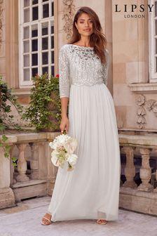 Lipsy Silver Natalie Embellished Mid Sleeve Bridemaid Maxi Dress