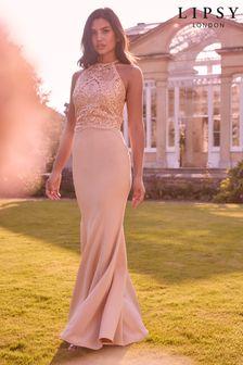Lipsy Nude Victoria Halter Embroidered Bridesmaid Dress