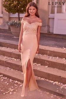 Lipsy Nude Victoria Bardot Embroidered Bridesmaid Dress