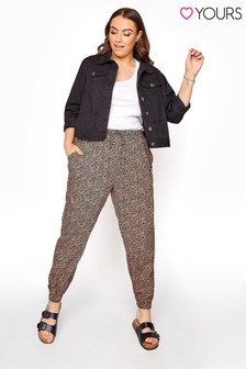 Yours Brown Spun Viscose Own Leopard Cuff Harem Trousers
