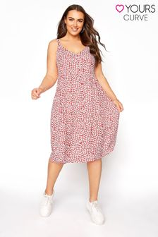 Yours Red Strappy Ditsy Floral Sundress