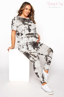 Bump It Up White Maternity Tie Dye Tee and Crop Leggings Set