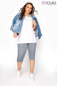 Yours Blue Gingham Crop Check Legging