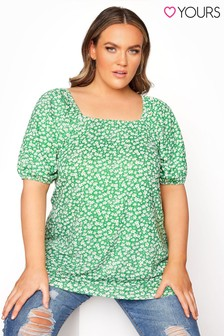 Yours Green Square Neck Top Daisy Print