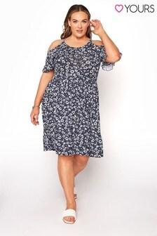Yours Blue Cold Shoulder Summer Dress