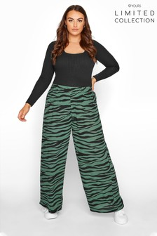 Yours Limited Green Zebra Wide Leg Trousers