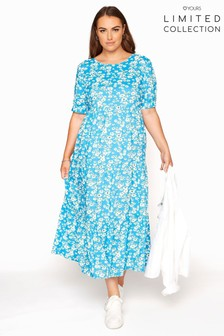 Yours Limited Blue Woven Tiered Dress Daisy