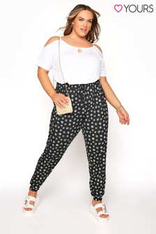Yours Black Shirred Waist Trouser
