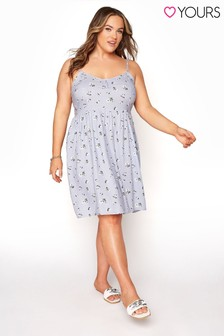 Yours Blue Strappy Dress Ditsy