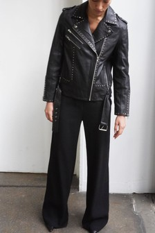 Religion Black Complex Biker Leather Jacket