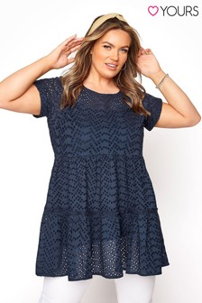 Yours Blue Broderie Tiered Tunic