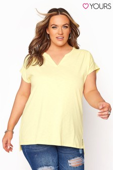 Yours Yellow Grown On Sleeve Notch Neck Tee