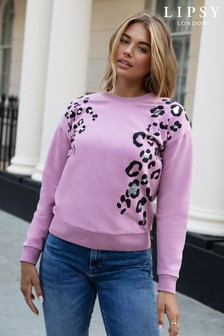 Lipsy Rose Pink Animal Lightweight Sweatshirt