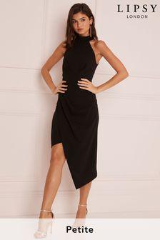Lipsy Black Petite Halter Neck Asymmetric Bodycon Dress