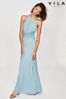 Vila Light Blue Halter Neck Tulle Maxi Dress