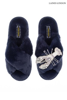 Laines London Blue Pearl Lobster Classic Artisan Fluffy Crossover Slippers