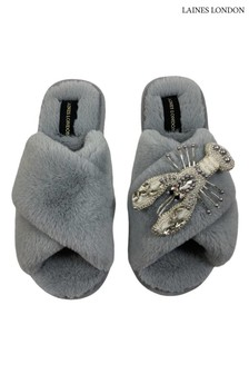 Laines London Grey Gold Giraffe Classic Laines Slippers with Laines Deluxe Giraffe Brooch