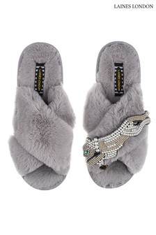 Laines London Grey Pearl Panther Classic Artisan Fluffy Crossover Slippers