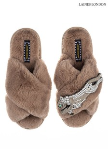 Laines London Brown Pearl Panther Classic Artisan Fluffy Crossover Slippers