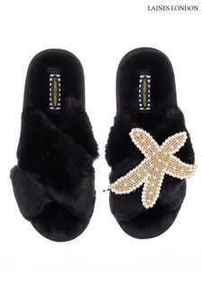 Laines London Black Silver Starfish Classic Laines Slippers with Laines Deluxe Giraffe Brooch