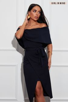 Girl In Mind Navy Lucia Off Shoulder Bodycon Dress