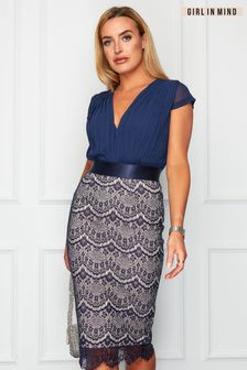Girl In Mind Navy Natalya Pleated Plunge Lace Bodycon Midi Dress