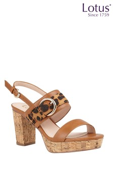 Lotus Footwear Tan Leopard-Print Sling-Back Sandals