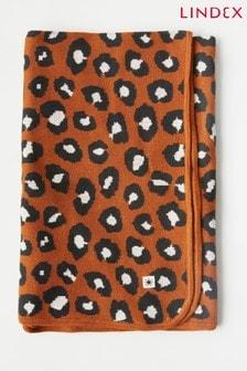 Lindex Brown Animal Baby Printed Shawl Blanket