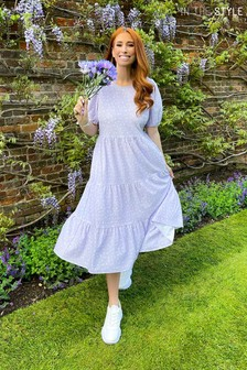 In The Style Purple Stacey Solomon Ditsy Floral Smock Tiered Midi Dress