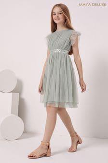 Maya Green Girl Embellished Waist Tulle Dress