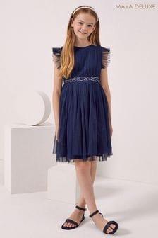 Maya Blue Girl Embellished Waist Tulle Dress