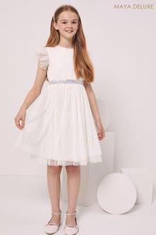 Maya White Girl Embellished Waist Tulle Dress