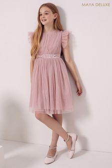Maya Pink Girl Embellished Waist Tulle Dress