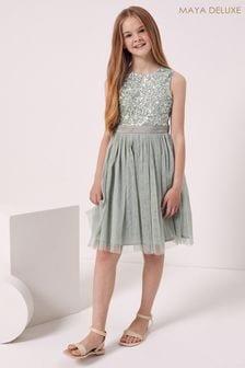 Maya Green Girl Sleeveless Sequin Tulle Dress
