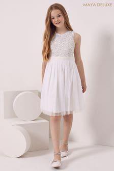 Maya White Girl Sleeveless Sequin Tulle Dress
