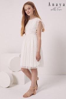 Anaya With Love White Girls Ruffle Bow Back Dress