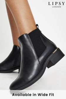 Lipsy Black Wide FIt Flat Metal Chelsea Boot