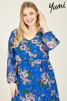 Yumi Blue Curves Floral Printed Elizza Maxi Dress