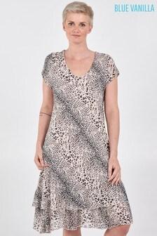 Blue Vanilla Grey Mini Leopard Print Layered Dress
