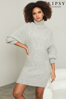 Lipsy Grey Regular Knitted Cable Jumper Dress