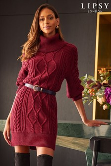 Lipsy Berry Red Regular Knitted Cable Jumper Dress
