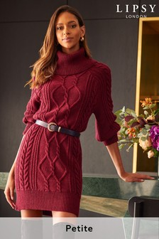 Lipsy Berry Red Petite Knitted Cable Jumper Dress