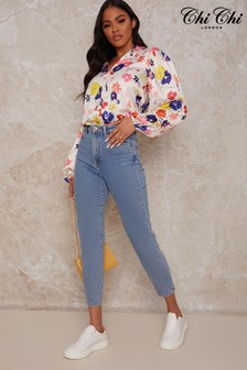Chi Chi London White Bright Floral Shirt
