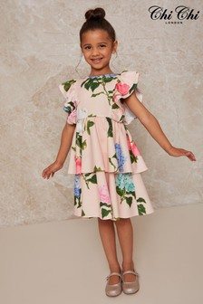Chi Chi London Pink Girls Floral Print Tiered Dress In Pink
