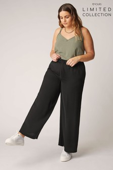 Yours Limited Black Elastic Waistband Washed Twill Wide Leg Trousers